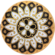 Antique Button Pin, Brightly Gilded with Champleve Enamel in Black & White Enamel, Victorian S