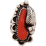 Navajo Sterling & Red Branch Coral Ring, Native American Indian Ring