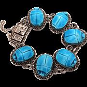 Egyptian Revival Blue Faience Scarab Bracelet 800 Silver, Egypt Hallmark & Egyptian Hieroglyph