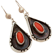 Native American Navajo Coral Sterling Earrings Pierced Dangles, Tear Drop Earrings