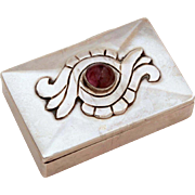 Damaso Gallegos 980 Silver Amethyst Box, Taxco Mexico, Mexican Silver, Sterling Pill Box, Trin