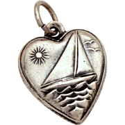 Sterling Puffy Heart Charm with Raised Sailboat on Ocean Waves with Seagulls