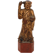 Antique Chinese Wood Carving of Man in Long Kimono, Cinnabar Red & Gold Paint, Small Chinese W