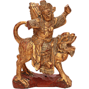 Antique Chinese Wood Warrior on Foo Lion, Hand Carved Wood Statue, Carving of Soldier with Qui