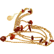 Amber Guild Necklace with Original Hang Tag, Chunky Genuine Amber Beads in Double Chain Neckla