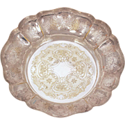 Barker Ellis Dish with Scallop Edge, Menorah Hallmark, Silverplate Serving Piece, Vintage Orna