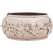 Whiting & Davis Wide Hinged Bangle Bracelet with Raised Design of Acorns and Leaves, Signed Wh
