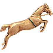 Gilded Sterling Horse Pin with Guilloche Enamel Details, Dressage Horse, Equestrian Jumping Ho