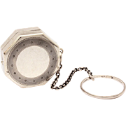 Sterling Art Deco Dance Compact on Removable Finger Ring & Chain by HF Barrows, HFB Sterling P