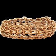 Elco Gold Filled Starter Charm Bracelet, Detailed Woven Design