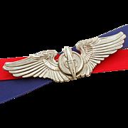 """WWII Bombardier Wings Sterling by Gemsco, 3"""" Pilot Wings Pin, USAAC, USAF, World War II ."""