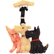 Celluloid Scotty Dog Pin, Scottie Dogs & Westie Brooch, Dangle Pin, Puppy Dog Pin