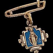 Blessed Mother Marion Cross Medal Dangle Pin, Blue Enamel Virgin Mary Pin, Catholic Medal