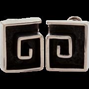 Sterling Mexican Maze Earrings, Mexico Silver Screw Back Earrings Spiral Design