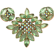 Light Green Open Back Prong Set Marquis Cut Rhinestones Pin & Earrings Set with AB Chatons ...