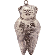 Antique Chinese Naked Boy Pendant, Nude Man Ornament, Male Figure Silverplate