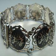 SALE Vintage sterling silver and niello bracelet