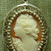 SALE Vintage silver and shell cameo with chain