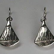SALE Egyptian style lotus blossom dangle earrings, sterling silver