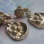 Older Vintage Floral Repousse Screw Back Earrings