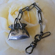 Victorian Sterling Watch Chain Fob Money Bag - Purse