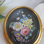 SALE Victorian Miniature Painting Pin French Signed