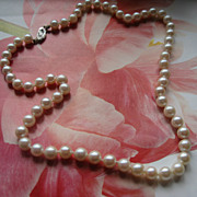 Cultured Pearl Necklace 14K White Gold Clasp