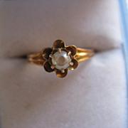 10K Victorian River Pearl Ring    Petite      June Birthstone