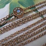 SALE Antique Ladies Watch Chain 10K Opal Slide October Birthstone