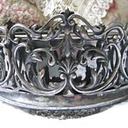 Vintage Footed Silver Plate Basket Original Liner