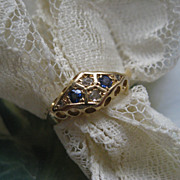 SALE Antique Rose Cut Diamond & Blue Stone Ring  10K