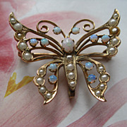 Antique Opal & Seed Pearl Watch Pin    Butterfly    10KT