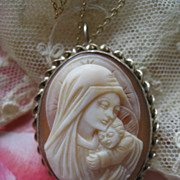 Blessed Virgin & Child Carved Shell Cameo Necklace