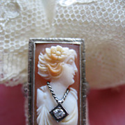SALE 14K White Gold Cameo Habille Ring    Circa 1930