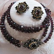 SALE R. Ranft Garnet Necklace & Earrings     Austria