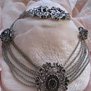 SALE R. Ranft Silver Garnet Festoon Necklace   Austria Austro Hungarian
