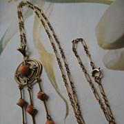 Art Nouveau Coral Lavalier in Gold Fill