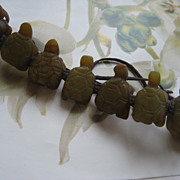 SALE Carved Stone Turtles Bracelet