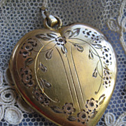 SALE Etched Heart Locket in Gold Fill