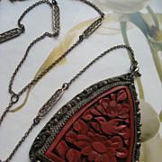SALE Art Deco Cinnabar Lorgnette Necklace