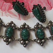 Mexican Silver Bracelet & Earrings   Circa 1930