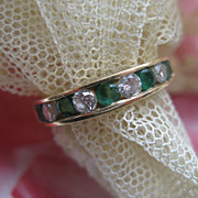 SALE 14K Emerald & Diamond Wedding Band