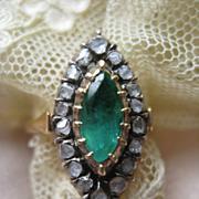 SALE Estate 14K Emerald Rose Cut Diamond Ring