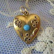Victorian 10K Puffy Heart Charm