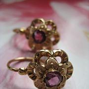 SALE Victorian 10K Ruby Paste Earrings   European