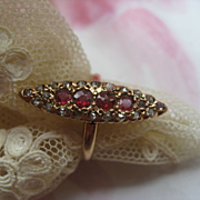 SALE Victorian Ruby & Diamond Ring   10K