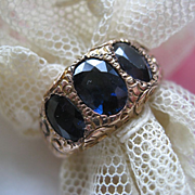 Victorian 10K Sapphire Trilogy Ring    Wedding Band