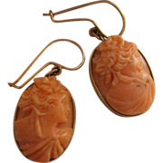 Victorian Earrings Coral Cameo Pierced Earrings 10K