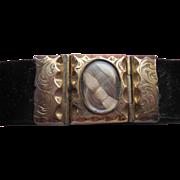 Victorian 8K Hair Work Memorial Bracelet, Hair Locket, Mourning Jewelry