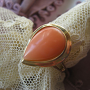 SALE Vintage Pear Shaped Coral Ring 14K Yellow Gold 585 European